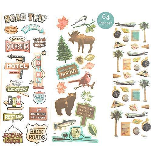 64 Piece! Travel, Road Trip & Nature Theme Scrapbook Sticker Kit - Value Pack!