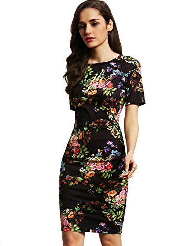 al Short Sleeve Flower Print Bodycon Pencil Dress Navy M ()