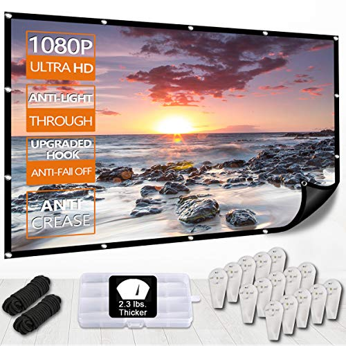 New Black Background Projector Screen,Etercycle 4K HD 1080P Portable Anti-Light Through Movie Screen for Home Indoor Backyard Theater,No Crease,Easy to Clean,1.1Gain,160° Viewing Angle,Upgrade Hook