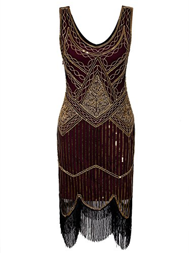 Vijiv Women 1920s Vintage V Neck Sequin Themed Fringe Great Gastby Party Flapper Dress,Red Gold,X-Small