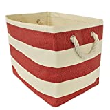 CC Home Furnishings 17'' Red and Ivory Striped Pattern Rectangular Large Size Paper Basket