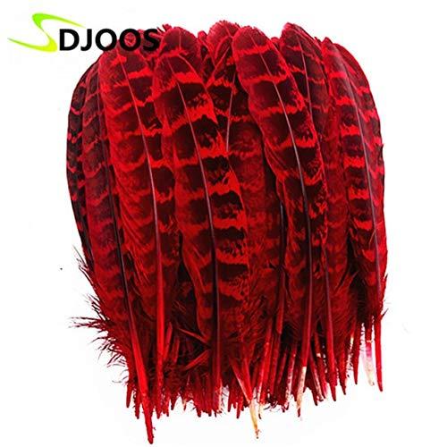 Maslin 100PCS Dyed Plumas De Colores Natural Pheasant Feathers for Sale Crafts Centerpieces Wedding Decorative Cheap Bulk DIY - (Color: Red) ()