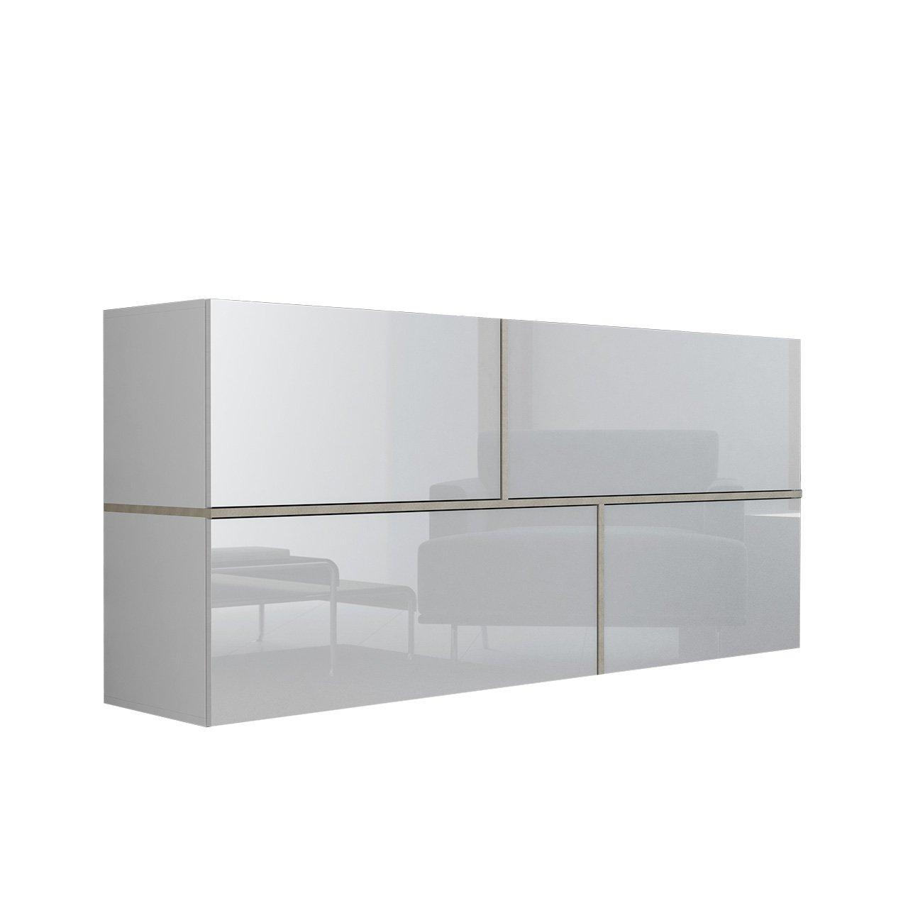 Mirjan24  Kommode Goya, Hängekommode, Anrichte, Mehrzweckschrank, Wohnzimmerschrank, Highboard, Sideboard, Wohnzimmer Schrank (Weiß/Weiß Hochglanz + Eiche Sonoma)