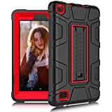 "DONWELL Fire 7 Tablet Case for 7th Generation 2017 Release 7"" Display Heavy Duty Shockproof Defender with Kickstand Anti-Slip Protective Cover for All-New Amazon Kindle Fire HD 7 (Black/Red)"
