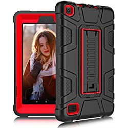 DONWELL Fire 7 2017 Case New Hybrid Shockproof Defender Protective Armor Cover with Kickstand for Amazon Kindle Fire 7 2017 / All-New Amazon Fire HD 7 (Black/Red)