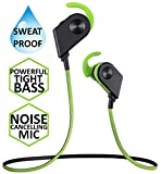 STEREO WIRELESS BLUETOOTH HEADSET-In-Ear Headphones-Loud Bass-Magnetic Power-Noise Cancelling Mic-Sweatproof for Running Gym Sports-iPhone 6s 6 SE plus Galaxy S7 S6 edge Android Phone (Green/Black)