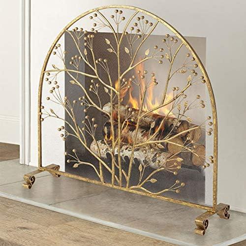 暖炉スクリーン 金属メッシュと葉のデザイン装飾が施されたシングルパネル暖炉スクリーン、ゴールド防火ガード、安全なベビーフェンスカバー高35インチ