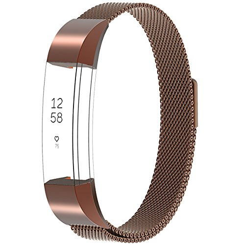 Gold Band Coffee (Henoda for Fitbit Alta HR Bands Metal Small Large, Replacement Milanese Strap with Magnet Lock for Fitbit Alta HR / Fitbit Alta Coffee)