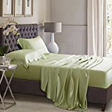 ELLESILK Sage Green Pure Silk Sheet Set, 25 Momme Seamless Mulberry Silk, Hypoallergenic, King Size