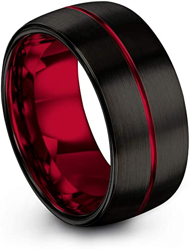 FREE SHIPPING CUSTOM Engraved 2 Piece Couple Set Black Tungsten Band with Domed Edge Red Center Grooves Brushed Finish Tungsten Wedding Band