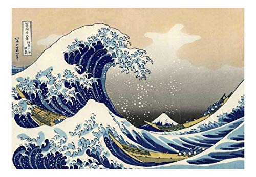 wall26 - The Great Wave Off Kanagawa by Katsushika Hokusai - Peel and Stick Large Wall Mural, Removable Wallpaper, Home Decor - 100x144 inches ()