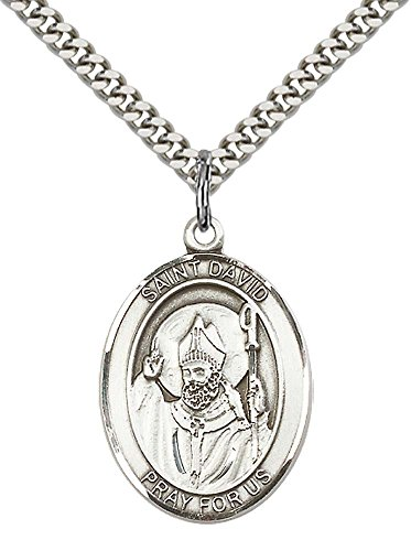Sterling Silver St. David of Wales Pendant with 24