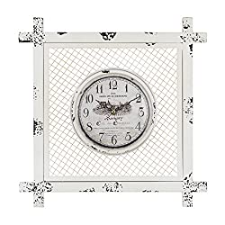 Vintage Style Clock in Square Mesh in Distressed White
