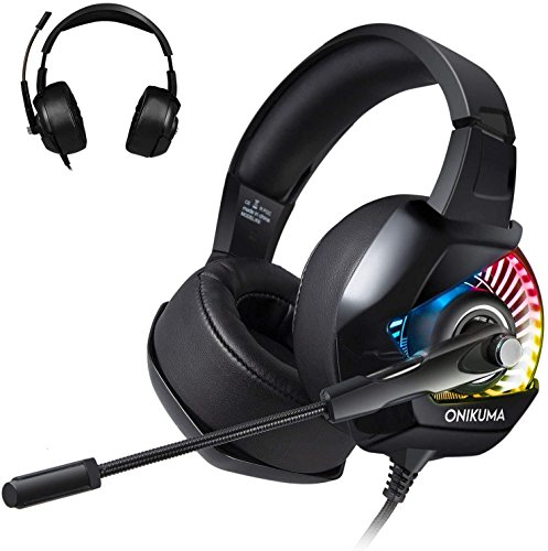 Gaming Headset for PS4 TUSBIKO Gaming Headphones with Noise Cancelling Microphone Bass Surround Sound LED Lights