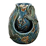Nature's Garden Tabletop Garden Fountain, Verdigris Hummingbird, Blue