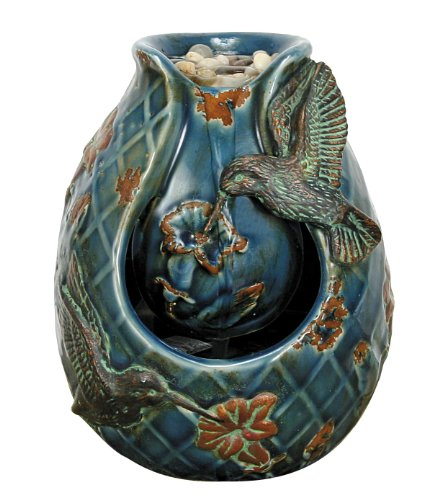 Nature's Garden Tabletop Garden Fountain, Verdigris Hummingbird, Blue (Wholesale Fountains Tabletop)