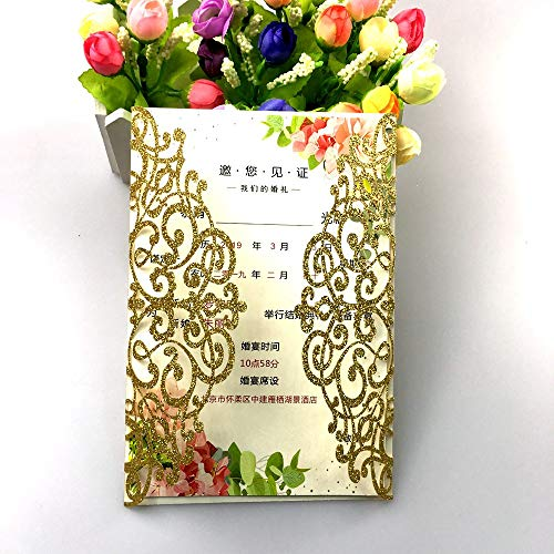 50 Sets Gold glitter Laser Cut Vintage Wedding Invitations Cards Hollow Floral Exquisite Carving Greeting invites cards 4 Engagement Birthday Bridal Show (gold glitter)