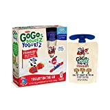 GoGo squeeZ YogurtZ, Strawberry, 3-Ounce Portable BPA-Free Pouches, Pack of 4