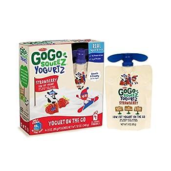 GoGo squeeZ YogurtZ, Strawberry, 3-Ounce Portable BPA-Free Pouches, Pack of 4