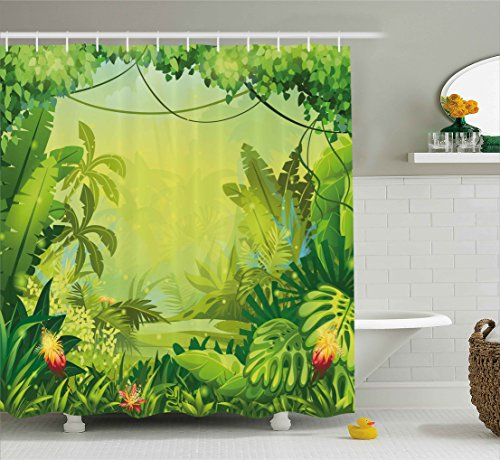 (Ambesonne Nature Shower Curtain by, Jungle with Red Flowers and Large Tropical Plants Foliage Woodland Fern Illustration, Fabric Bathroom Decor Set with Hooks, 70 Inches, Lime)