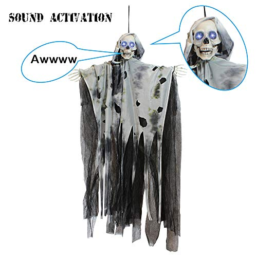 JOYIN 36 Animated Hanging Grim Reaper, Ghost with Led Eyes & Creepy Sounds & Moving Head for Best Halloween Props