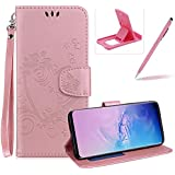 PU Leather Case For Galaxy S10E,Strap Magnetic Wallet Folio Cover for Galaxy S10E,Herzzer Elegant Slim Pink [Love Hearts Flower Embossed] Stand Phone Case