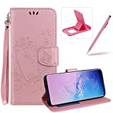 PU Leather Case For Galaxy S10E,Strap Magnetic Wallet Folio Cover for Galaxy S10E,Herzzer Elegant Slim Pink [Love Hearts Flower Embossed] Stand Phone Case: more info