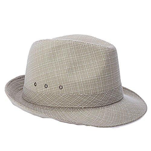 (Hat Men's Middle-Aged and Elderly Spring Summer British Linen Sunshade Outdoor Sun Hat,Beige,56CM)