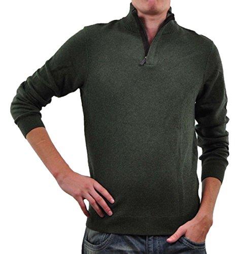 Tasso Elba Men's Textured Mock Neck Quarter Zip Sweater, Olive, Small
