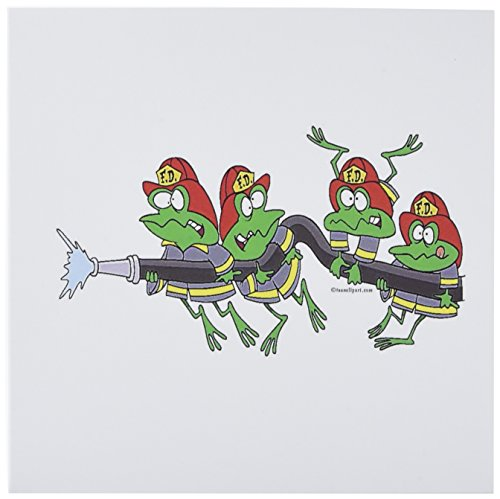 (3dRose Funny Firefighter Froggy Frogs - Greeting Cards, 6 x 6 inches, set of 12 (gc_104055_2))