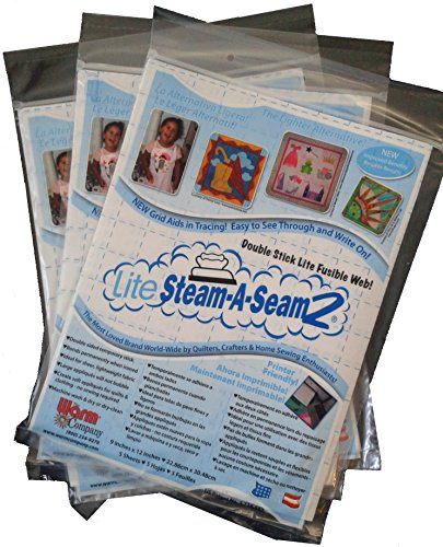 Bulk Buy: Warm Company (3-Pack) Lite Steam A Seam 2 Double Stick Fusible Web 9in. x 12in. Sheets 5/Pkg 5417