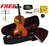 Merano MV500 4/4 Full Size Ebony Oil Varnish Flamed Violin,Case,Bow+Extra Set of Strings+Extra Bridge+Shoulder Rest+Black Music Stand+Metro Tuner+Rosin+Mute