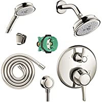 Hansgrohe KSH15753-04070-72PN-2 Croma C 100 Showerhead Kit with Handshower, Thermostatic Trim with Diverter, & Rough In Polished Nickel