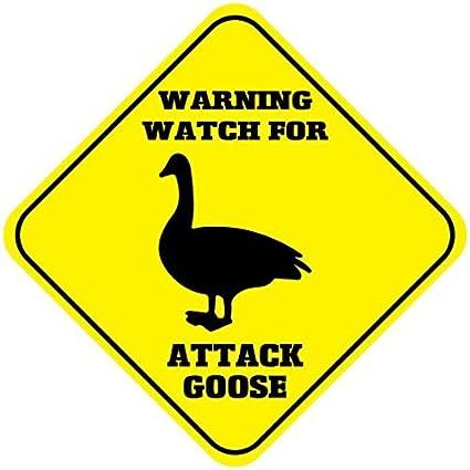 Reloj de advertencia para atascar ganso advertencia señal de cruce al aire libre amarillo diamante metal