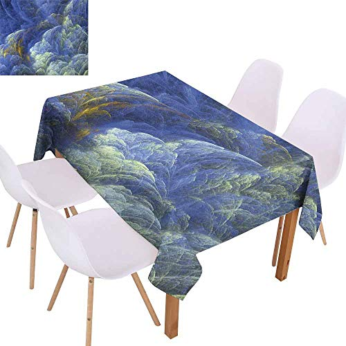 UHOO2018 Fractal,Elegant Tablecloth,Trippy Hazy Fantasy Shapes with Blurry Effects Mystic Plasma Artful Pattern,for Outdoor and Indoor Use,Blue Light Yellow,70