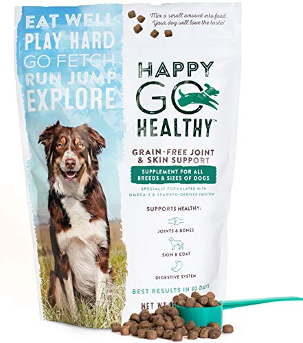 HAPPY GO HEALTHY Dog Joint & Skin Support Supplement | Hip & Joint Pain Relief | Optimum Skin & Coat | Digestive & Immune Health | Wild Alaskan Salmon Fish Oil | Pre-Biotic Fiber (Large 3 lb.)