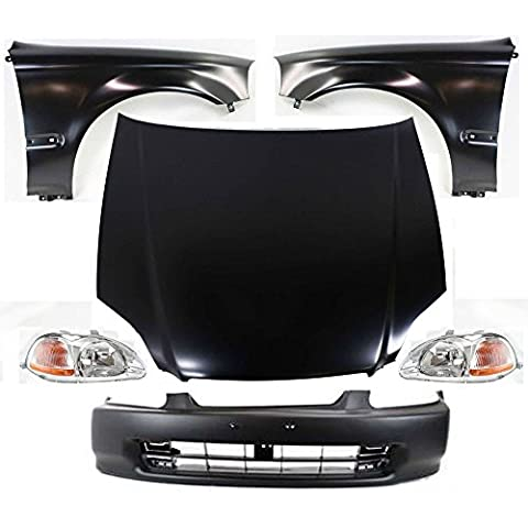 Diften 114-C0046-X01 - Left & Right Headlights & Fenders SET + Hood + Bumper Cover Auto Body Kit (1996 Honda Civic Hood Cover)