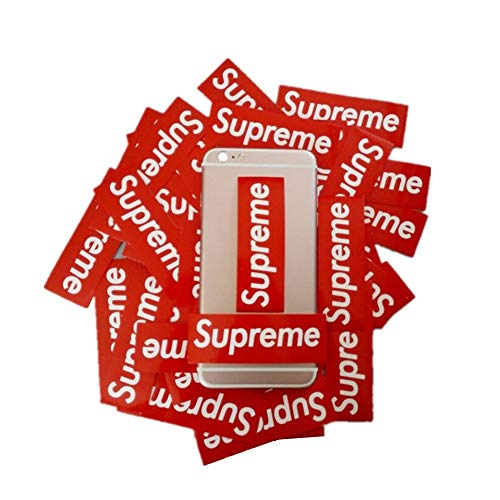 Supreme Stickers 50 Pieces Pack Waterproof and Oil Proof OEM Style for Decoration of Smart Phone, Laptop, Backpack Skateboarding, Cars, Laggages etc (Red, 50 pieces)