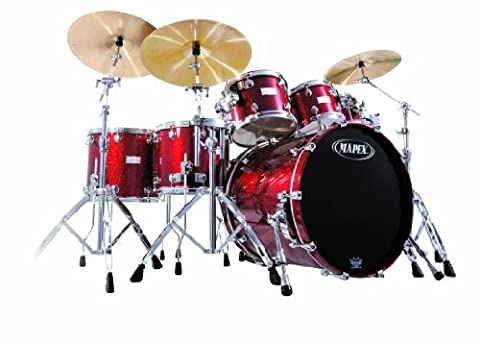 Mapex Saturn Series - Plus Bass Fusion Pop 22, 7-Piece Shell Pack, Cherry Sparkle (Mapex Saturn 7 Piece)