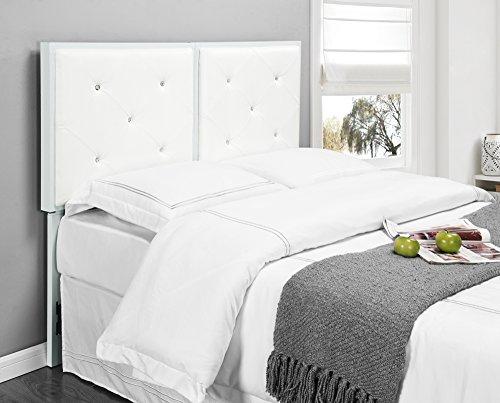 Kings Brand Furniture Metal Tufted Design Upholstered Headboard, White, Full by Kings Brand Furniture