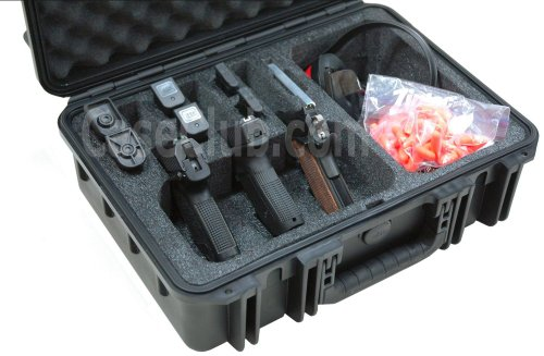 Case Club Waterproof 3 Pistol Case & Accessory Pocket with Silica Gel to Help Prevent Gun Rust