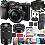 Sony Alpha a6000 Mirrorless Digital Camera 2 Lens 16-50mm & 55-210mm Lens (Black) ILCE-6000Y/B with 2X Extra Battery 128GB Memory Deco Gear Case Filter Kit Editing Suite Performance Bundle