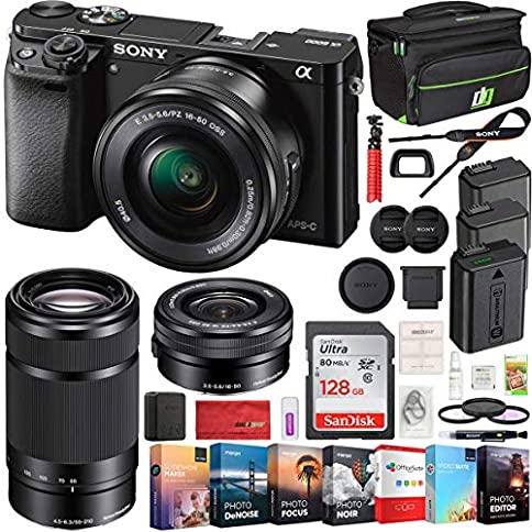 - 51mvyU8KAHL - Sony Alpha a6000 Mirrorless Digital Camera 2 Lens 16-50mm & 55-210mm Lens (Black) ILCE-6000Y/B with 2X Extra Battery 128GB Memory Deco Gear Case Filter Kit Editing Suite Performance Bundle