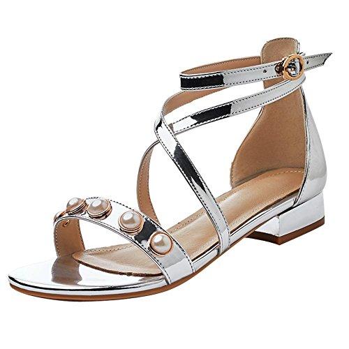 Silber Sandalen Buckle Chic Damen Mee Blockabsatz Shoes XYqHggS