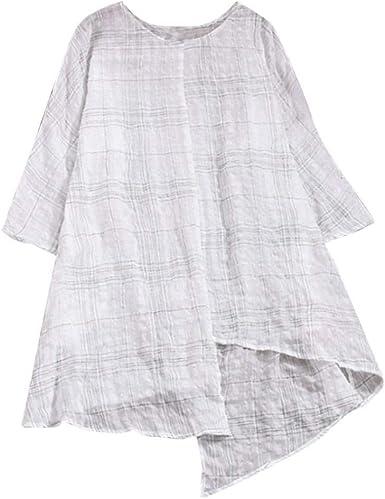Blusa De Tela Escocesa De Las Mujeres Suelta De Vintage Lino ...
