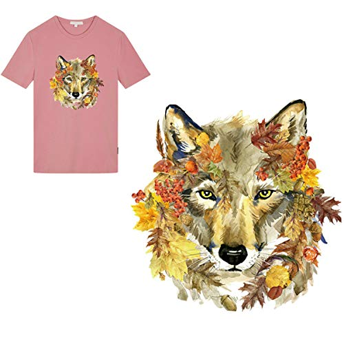 Patch Yellow T-shirt - B.FY Brownish Yellow Forest Wolf Head Applique Patch Iron on Sticks Patches Animals Heat Transfer Patch Embroidered Patch for DIY Jacket Jeans T- Shirt.
