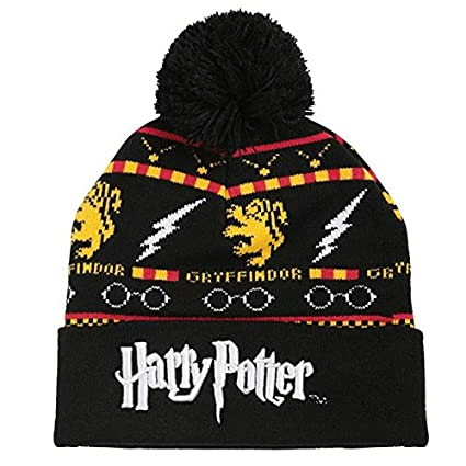 85e5672d1c1 Image Unavailable. Image not available for. Color  BIOWORLD Harry Potter Fair  Isle Gryffindor Logo Knit Cuff Pom Beanie