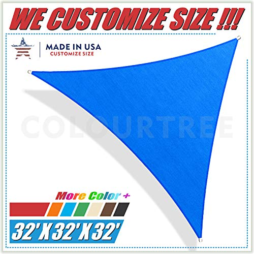 (ColourTree 32' x 32' x 32' Blue Triangle Sun Shade Sail Canopy – UV Resistant Heavy Duty Commercial Grade -We Make Custom Size)