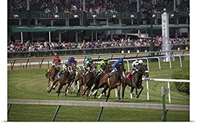Jaynes Gallery Poster Print entitled Kentucky, Louisville. Horses racing on turf at Churchill Downs