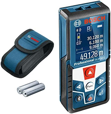 Bosch Professional Laser Measure GLM 30 (Single-Button Use, Imperial System, Measuring Range: 0.49 - 98 ft, 2 x 1.5 V Batteries, Protective Bag)